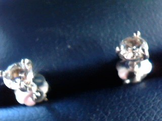 Gold-Diamond Earrings 2 Diamonds .32 Carat T.W. 14K White Gold 0.4dwt