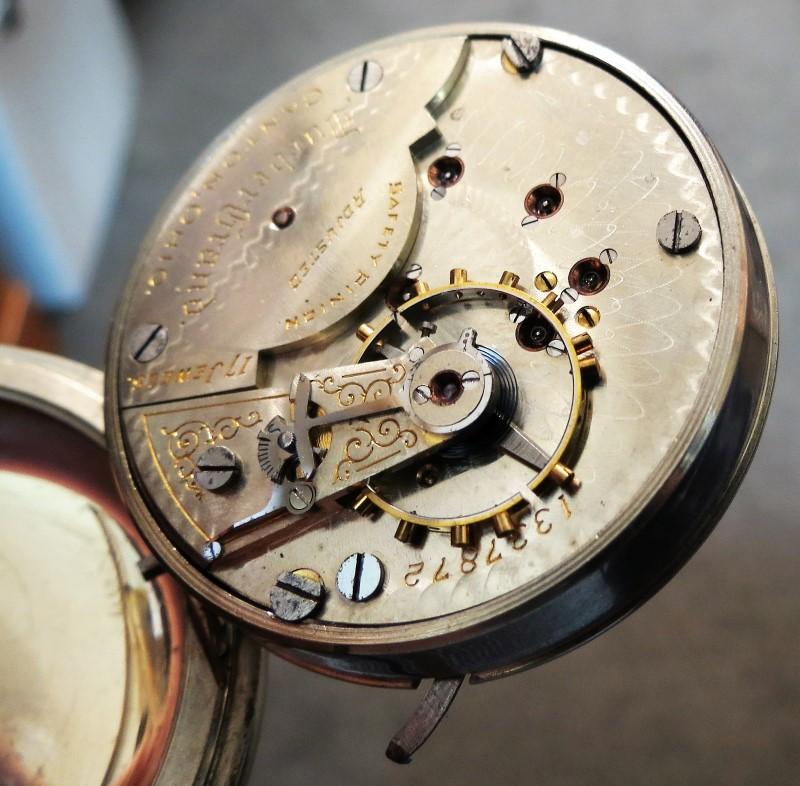 1899 DUEBER Grand 17J Open Face Railroad Watch, Oranate Porcelain Face, Size 18