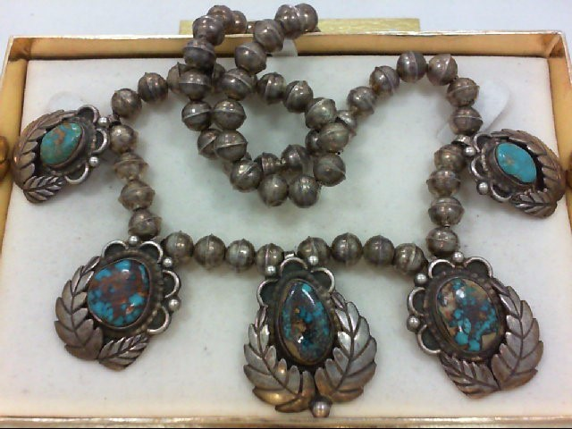 Turquoise Stone Necklace 925 Silver 71.7g