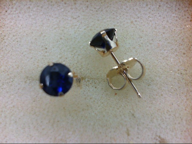 Sapphire Gold-Stone Earrings 14K Yellow Gold 0.6g