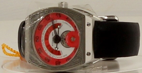 STUHRLING ZEPHYR EPIPHANY 282.331574 AUTOMATIC SELF WINDING RED DIAL WATCH, 20J