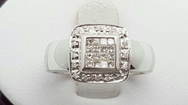Lady's Diamond Fashion Ring 28 Diamonds .48 Carat T.W. 14K White Gold 6g