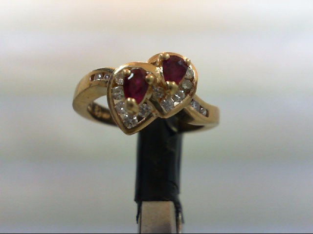 Ruby Lady's Stone & Diamond Ring 18 Diamonds 0.36 Carat T.W. 14K Yellow Gold 3.5