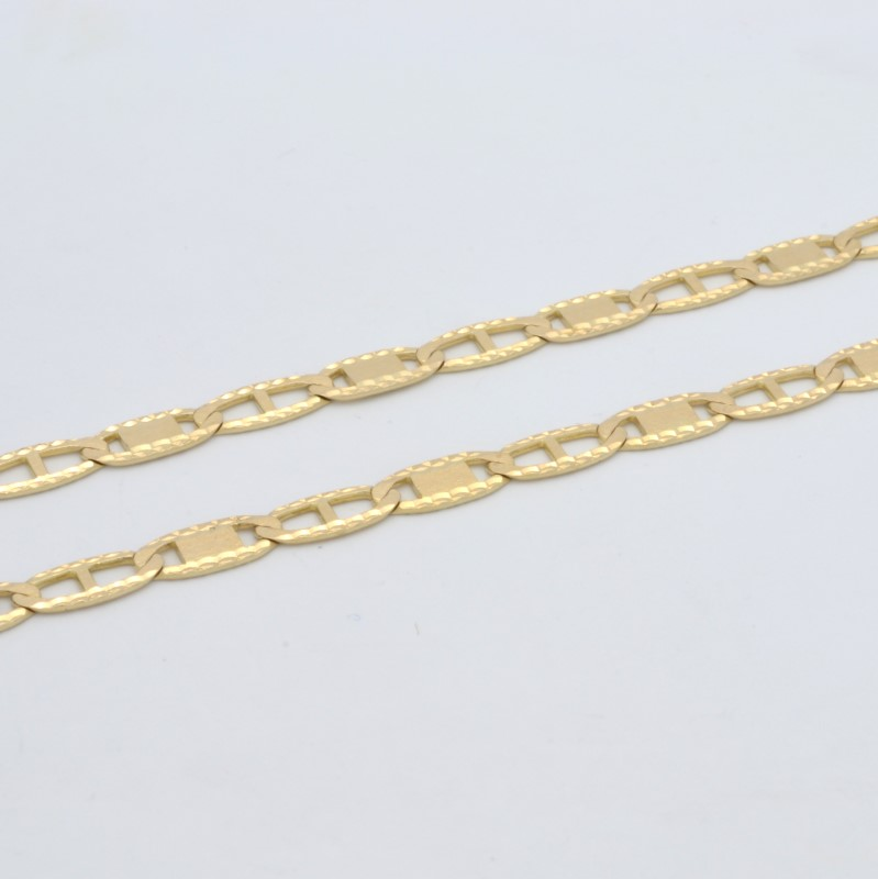 SOLID 14K YELLOW GOLD ANCHOR LINK NECKLACE CHAIN DIAMOND CUT 25""