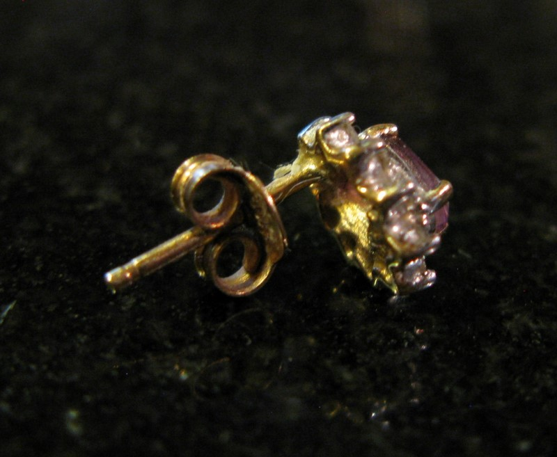 Single Amethyst Gold-Diamond & Stone Earring 10 Diamonds .10 Carat T.W.