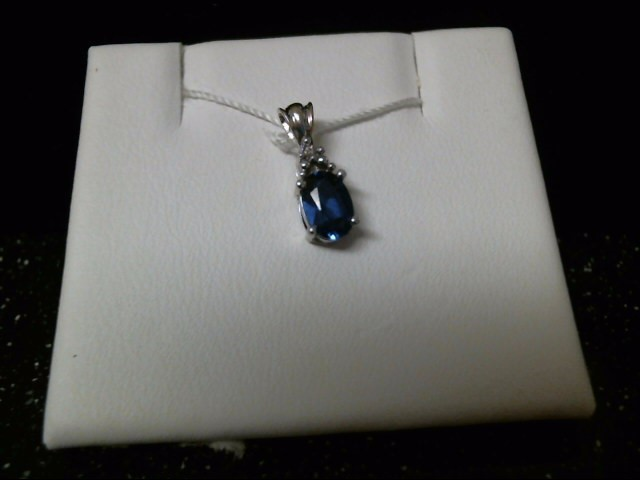 Synthetic Sapphire Gold-Diamond & Stone Pendant .01 CT. 10K White Gold 0.6g