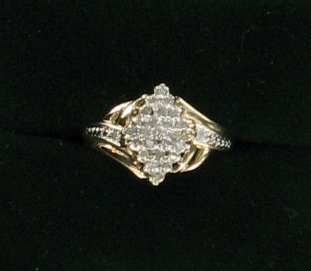 Lady's Diamond Cluster Ring 25 Diamonds .50 Carat T.W. 10K Yellow Gold 2.9dwt