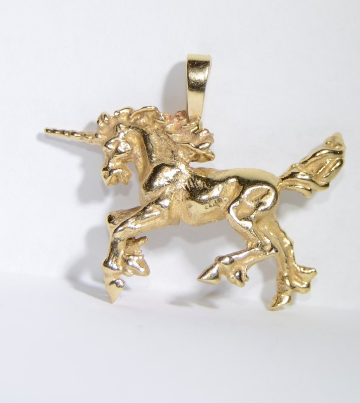 18K Yellow Gold Textured & Polished Galloping Running Unicorn Pendant