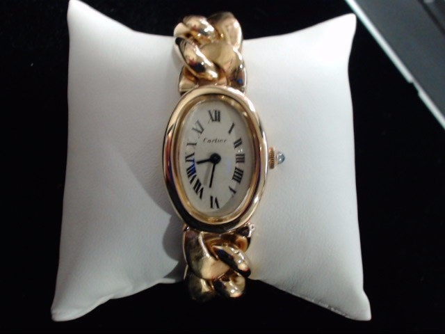 CARTIER Lady's Wristwatch BAIGNOIRE 18K WITH GOLD BRACELET