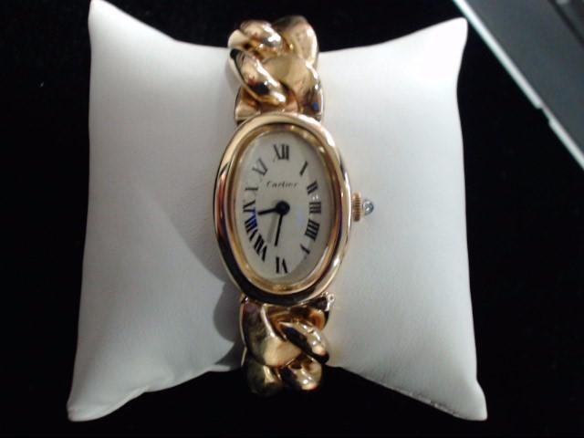 CARTIER Lady's Wristwatch BAIGNOIRE 18K WITH GOLD BRACELET