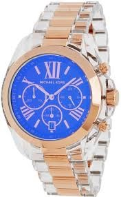 Michael Kors MK5950 Bradshaw Chronograph Blue Dial Rose Acetate Men's Watch