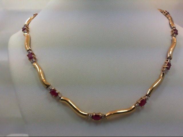 Ruby Diamond & Stone Necklace 26 Diamonds .26 Carat T.W. 14K Yellow Gold 11.1g