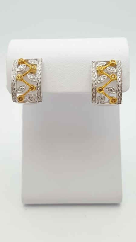 Yellow Sapphire Gold-Diamond & Stone Earrings 80 Diamonds .80 Carat T.W. 14K 2 T
