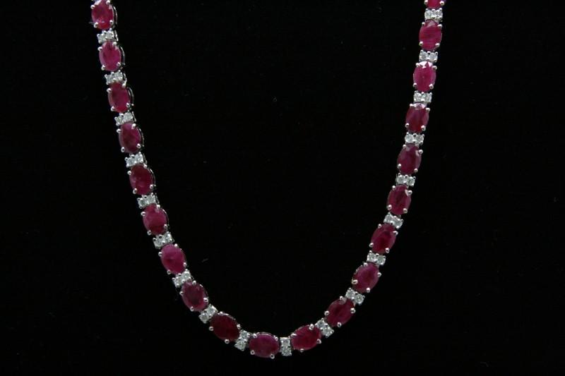 RUBY & DIAMOND NECKLACE 14K WHITE GOLD
