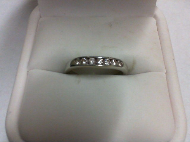 Lady's Diamond Wedding Band 7 Diamonds 0.35 Carat T.W. 18K White Gold 3.1g Size: