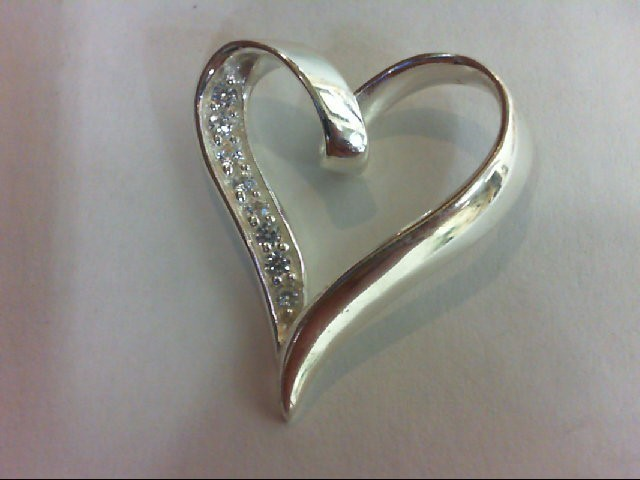 Silver-Diamond Pendant 8 Diamonds 0.08 Carat T.W. 925 Silver 3.4g