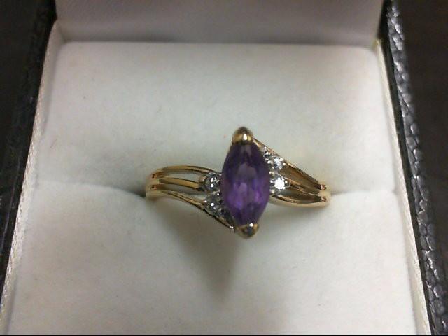 Amethyst Lady's Stone & Diamond Ring 4 Diamonds 0.04 Carat T.W. 10K Yellow Gold