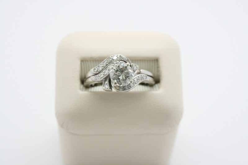 LADY'S DIAMOND WEDDING SET 14K WHITE GOLD