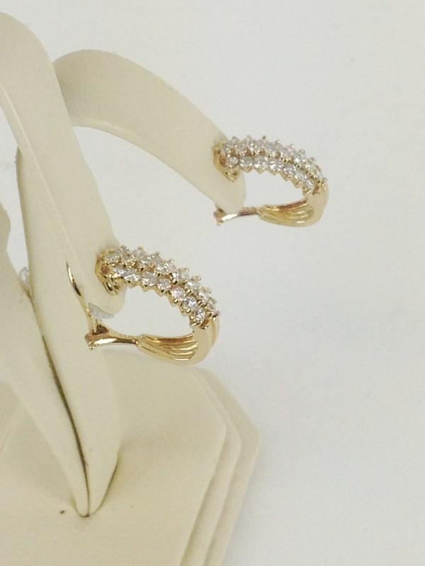 Diamond Earrings 44 Diamonds 1.32 Carat T.W. 14K Yellow Gold 7.86g