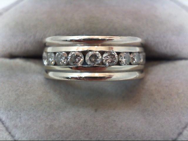 Gent's Gold-Diamond Wedding Band 10 Diamonds 1.20 Carat T.W. 14K White Gold