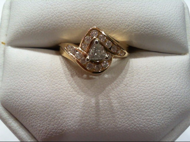 Lady's Diamond Engagement Ring 17 Diamonds .50 Carat T.W. 14K Yellow Gold 3.9g