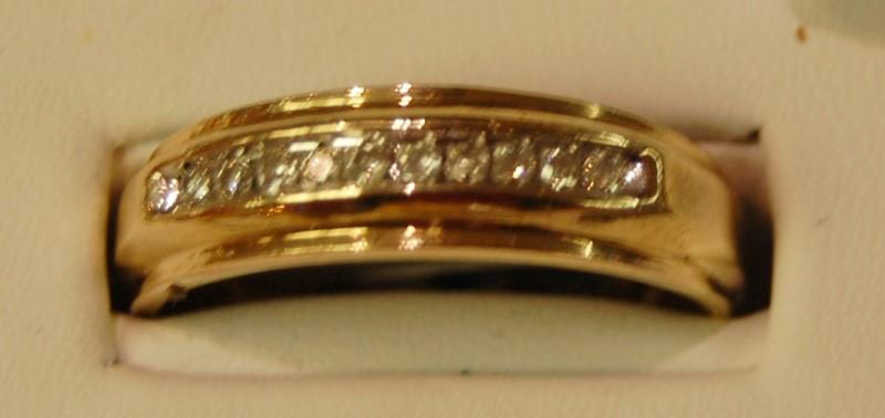 Gent's Gold-Diamond Wedding Band 20 Diamonds .40 Carat T.W. 10K Yellow Gold