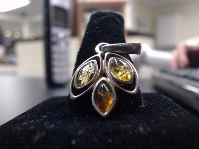 Yellow, Orange, Green Amber Pendant 925 Silver 3g
