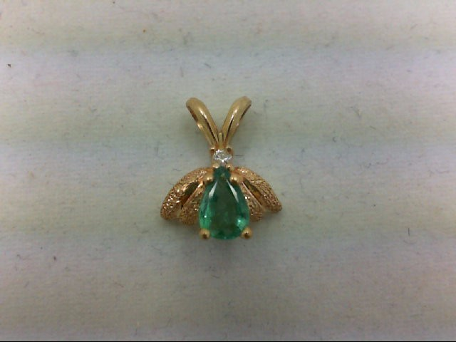 Emerald Gold-Diamond & Stone Pendant 0.02 CT. 14K Yellow Gold 1g