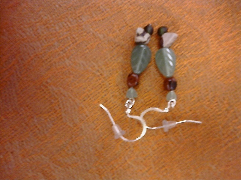 Synthetic Agate Silver-Stone Earrings 925 Silver 2.4dwt