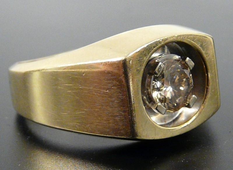 Heavy Man's Diamond Solitaire Ring 3/4 Carat Diamond,14K Yellow Gold, Size 10.5