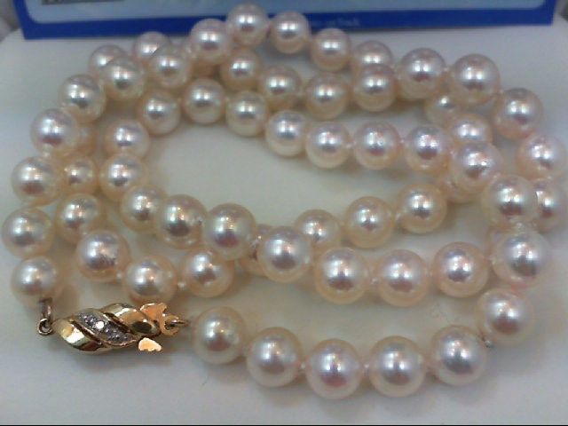 "18"" Pearl Strand Stone Necklace 14K Yellow Gold 23g"