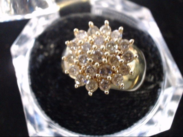 Lady's Diamond Cluster Ring 23 Diamonds 1.15 Carat T.W. 10K Yellow Gold 8.9g