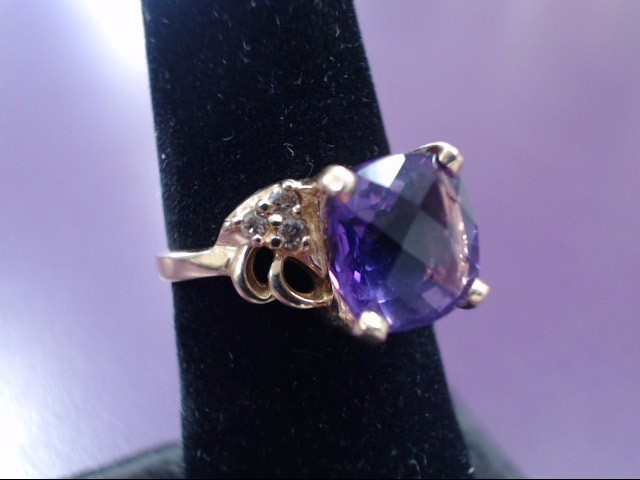 Purple Stone Lady's Stone & Diamond Ring 6 Diamonds .18 Carat T.W.