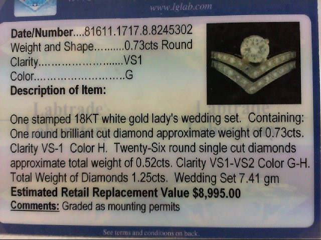 Lady's Diamond Wedding Set 27 Diamonds 1.25 Carat T.W. 18K White Gold 7.41g