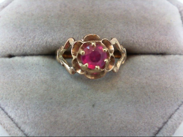 Synthetic Ruby Lady's Stone Ring 14K Yellow Gold 2.1g