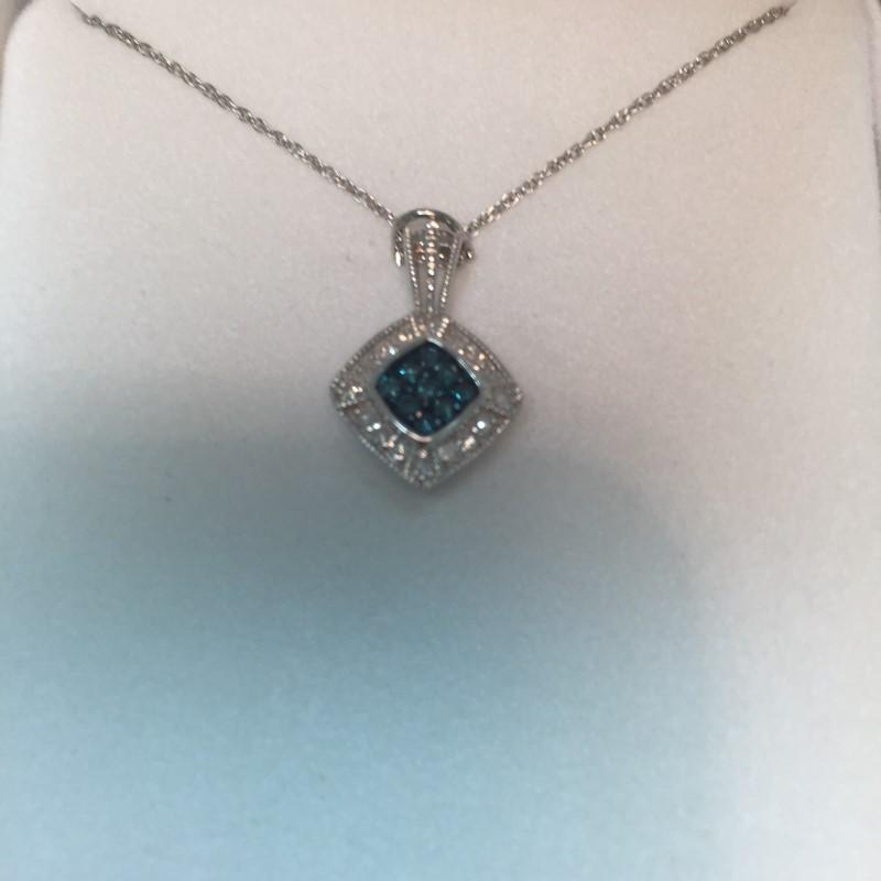 "18"" Blue & White Diamond Necklace 25 Diamonds .25 Carat T.W. 10K White Gold 2dwt"