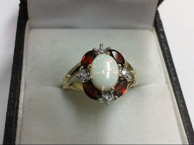 Opal Lady's Stone & Diamond Ring 4 Diamonds 0.04 Carat T.W. 10K Yellow Gold 3.1g