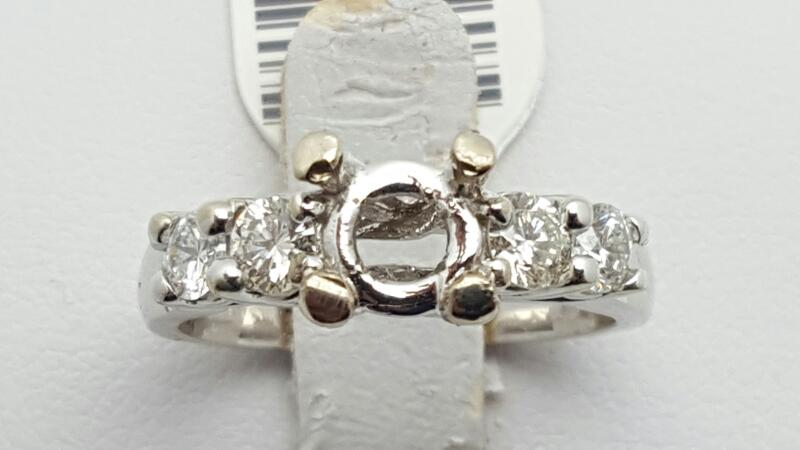 Lady's Diamond Engagement Ring 4 Diamonds 0.56 Carat T.W. 14K White Gold 4.6g Si