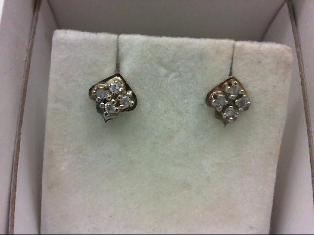 Gold-Diamond Earrings 8 Diamonds 0.16 Carat T.W. 14K White Gold 1.1g
