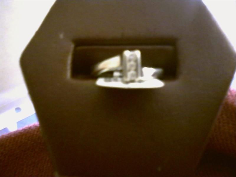 Lady's Diamond Fashion Ring 3 Diamonds .03 Carat T.W. 10K White Gold SIZE 5.5