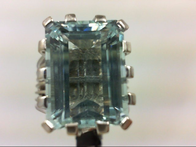 Aquamarine Lady's Stone Ring 14K White Gold 9.31g Size:6.5