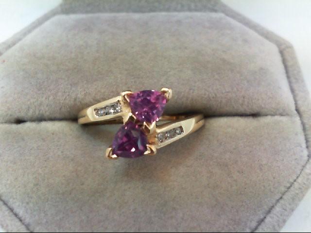 Synthetic Alexandrite Lady's Stone & Diamond Ring 6 Diamonds .12 Carat T.W.