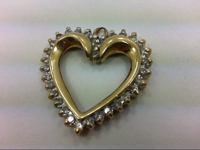 Gold-Multi-Diamond Pendant 33 Diamonds 0.33 Carat T.W. 10K Yellow Gold 2.6g