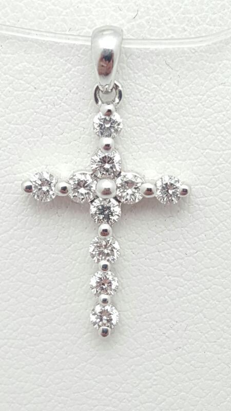 14kw Gold Diamond Cross Pendant 10 Diamonds .50 Carat T.W. 1g