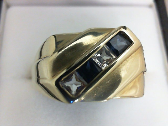 Synthetic White Stone Gent's Stone Ring 10K Yellow Gold 5.3g