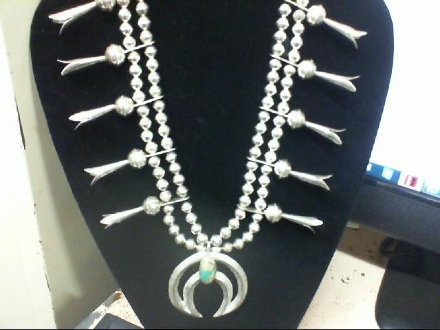 "26"" vintage Squash Blossom Necklace 925 Silver w/ Turq 140.8g"