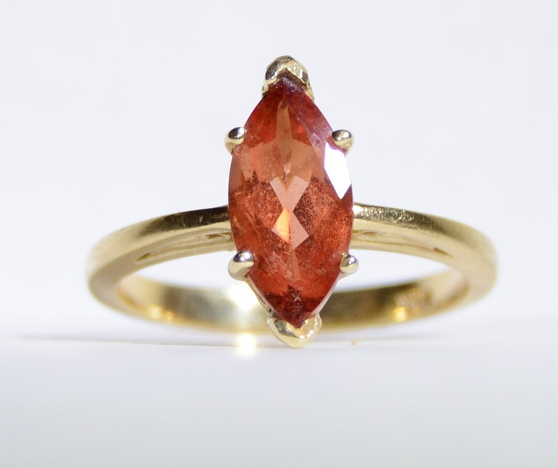 14K Yellow Gold Cathedral Set Filigree Detailed Orange Spinel Solitaire Ring 7