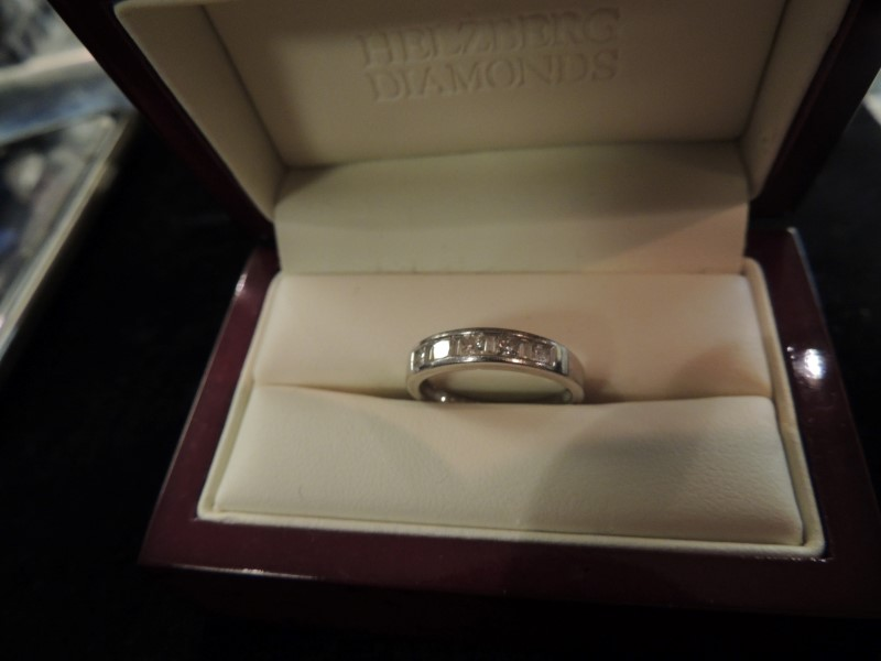 Lady's Diamond Wedding Band 9 Diamonds .44 Carat T.W. 14K White Gold 2.7g