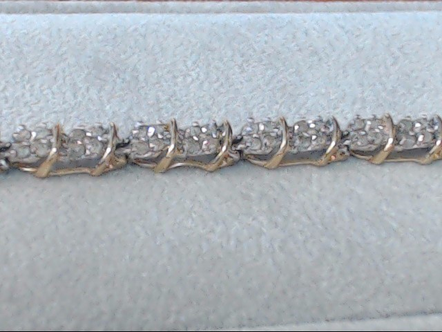 Gold-Diamond Bracelet 128 Diamonds 1.28 Carat T.W. 10K Yellow Gold 7.8g