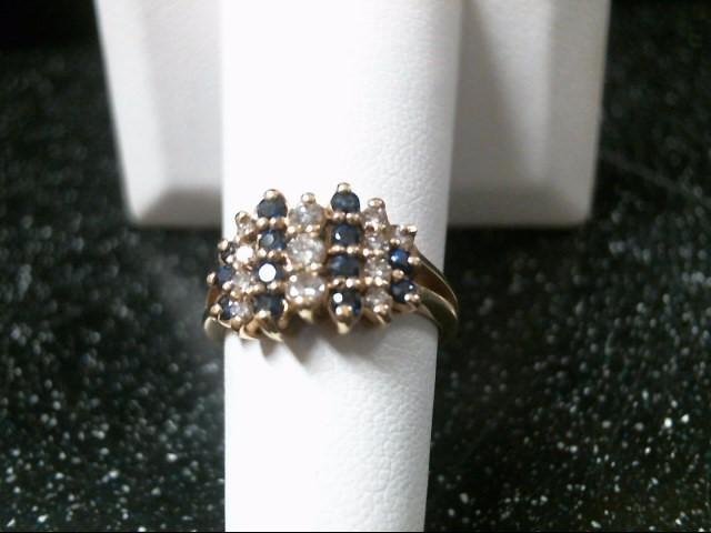 Blue Stone Lady's Stone & Diamond Ring 12 Diamonds .30 Carat T.W.